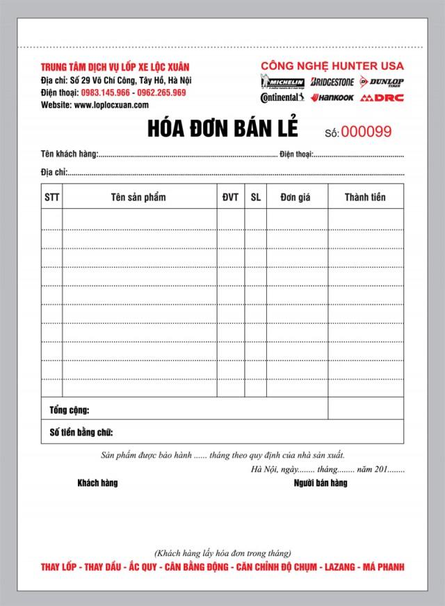 In hóa đơn bán lẻ tại Hà Nội (Cty Lộc Xuân)